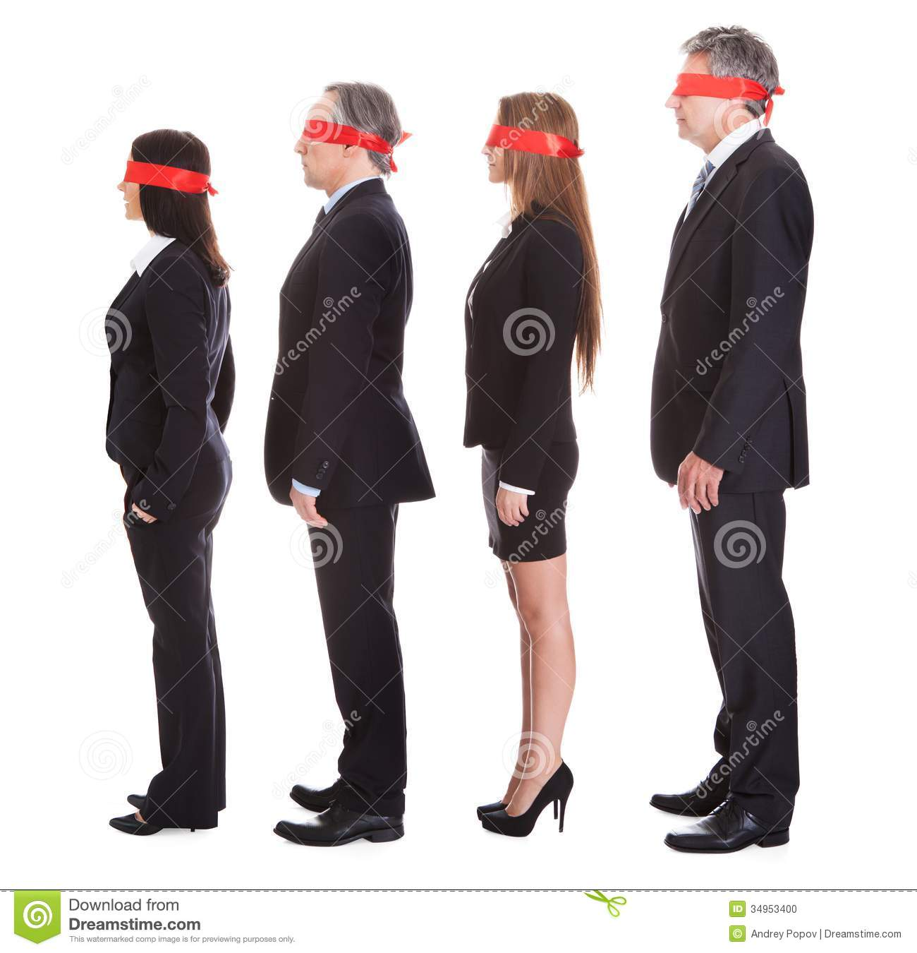 Businesspeople s Eyes Covered With Ribbon