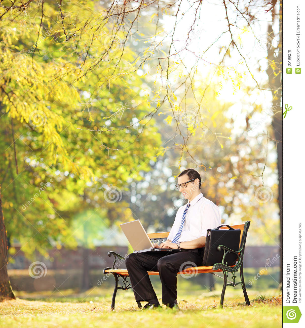 Businessperson On Bench Working On A Laptop In A Park ...