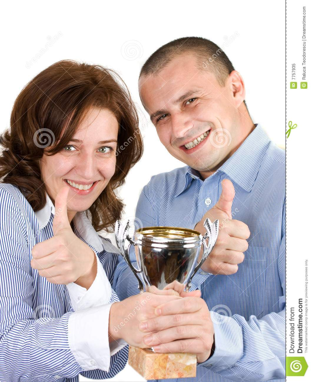 Businessteam With Trophy Over White Background Royalty Free Stock Photo Image 7757935