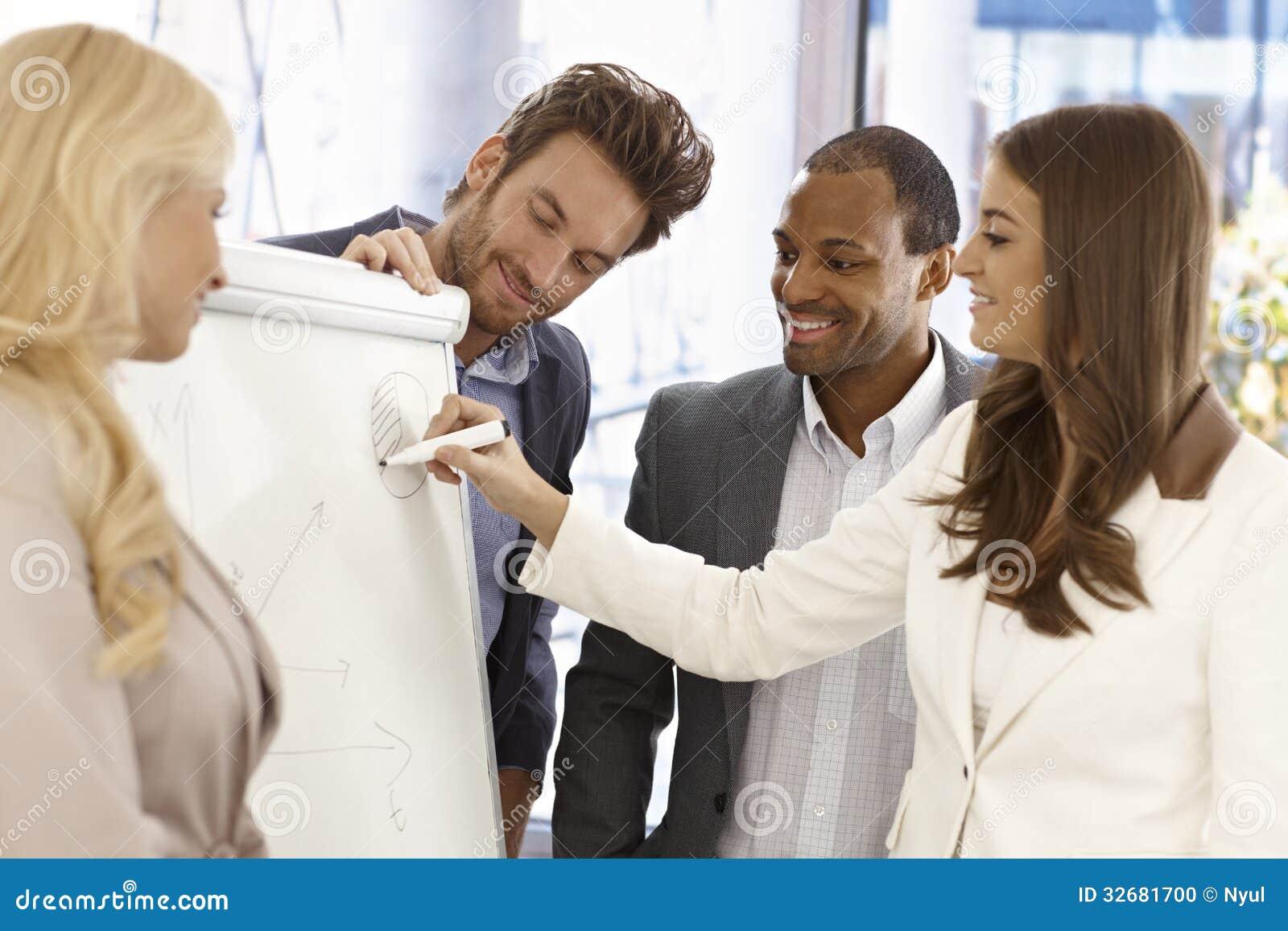 Businessteam using whiteboard