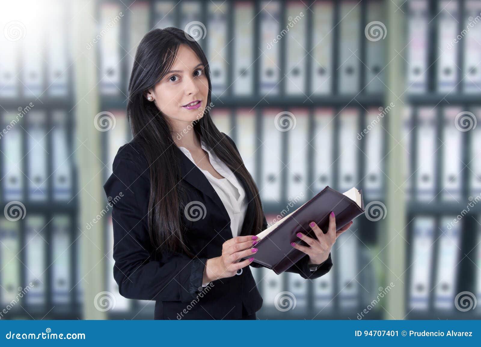 Businesswoman with address book