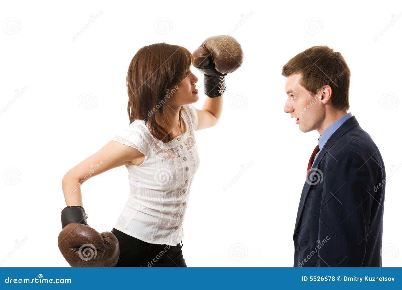 Businesswoman attacks businessman.