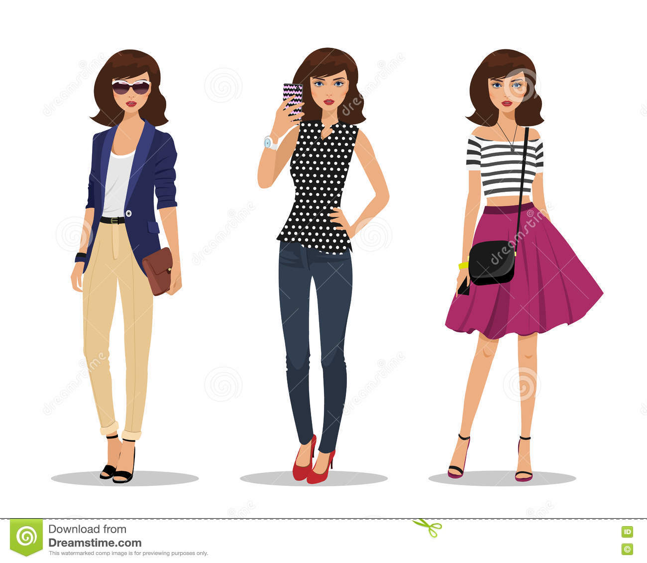 Vector Cute Fashion Model Girl Selfie Illustration With A Cute Young Girl Vector Illustration