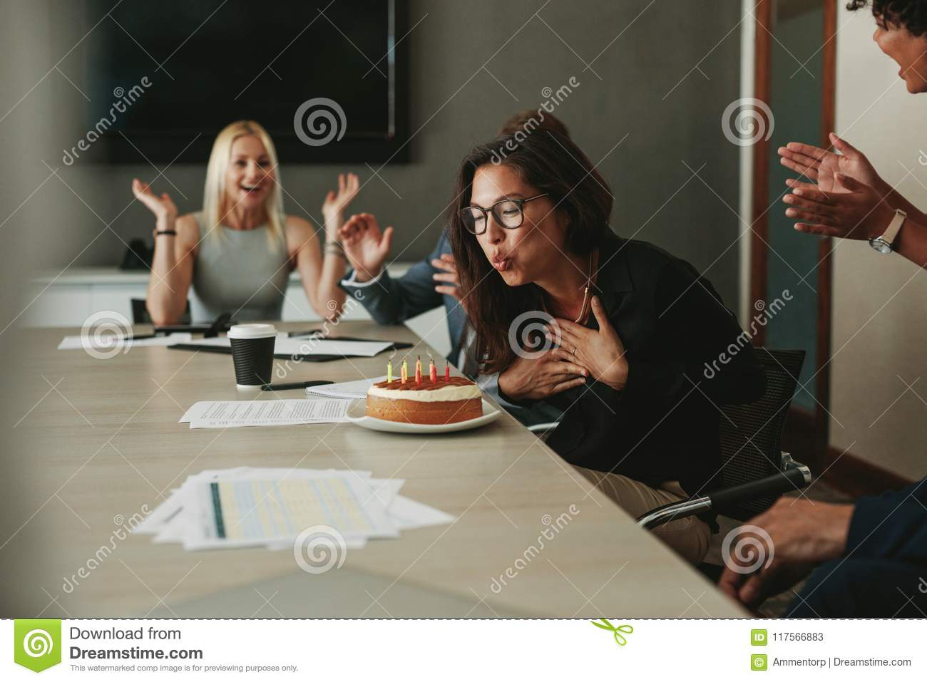 Businesswoman Celebrating Her Birthday In The Office Stock Image