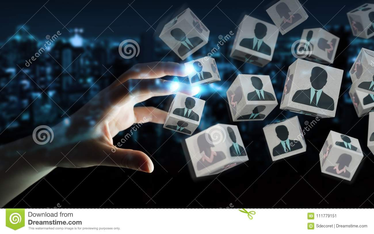 Businesswoman choosing candidate for a job 3D rendering