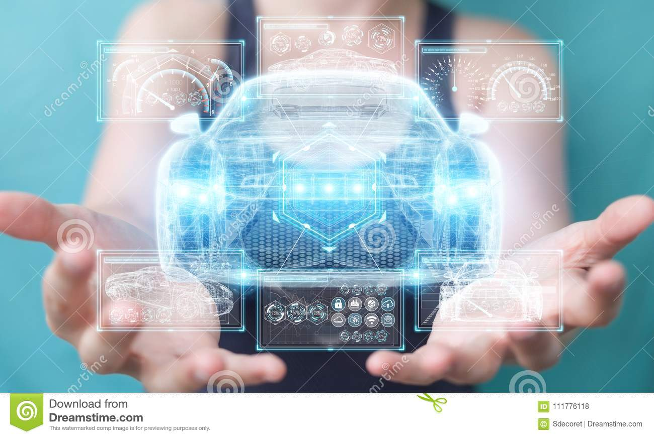 Businesswoman using modern smart car interface 3D rendering