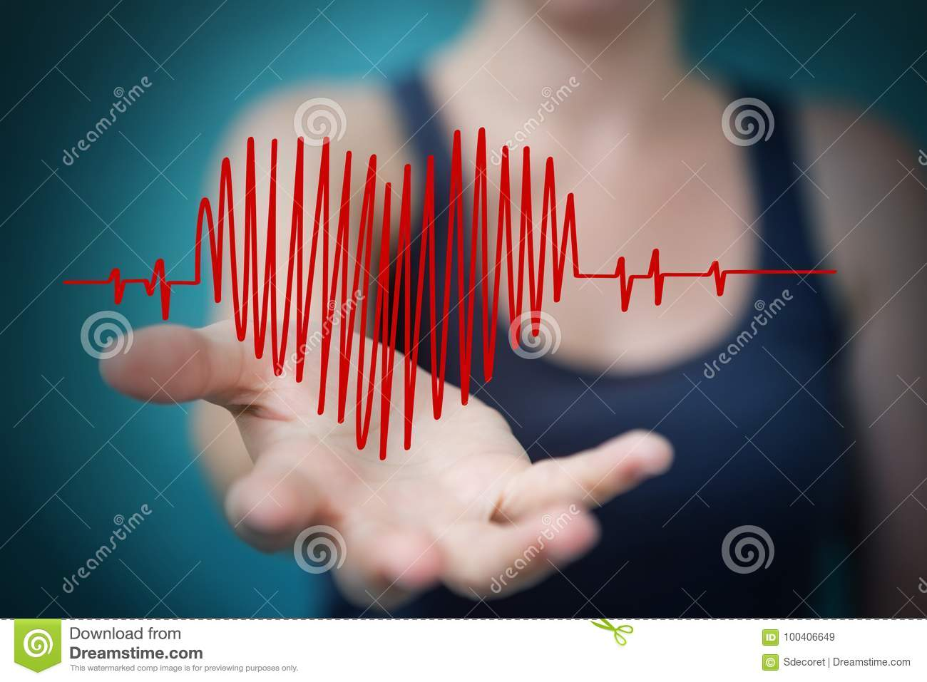 Businesswoman touching and holding heart beat sketch