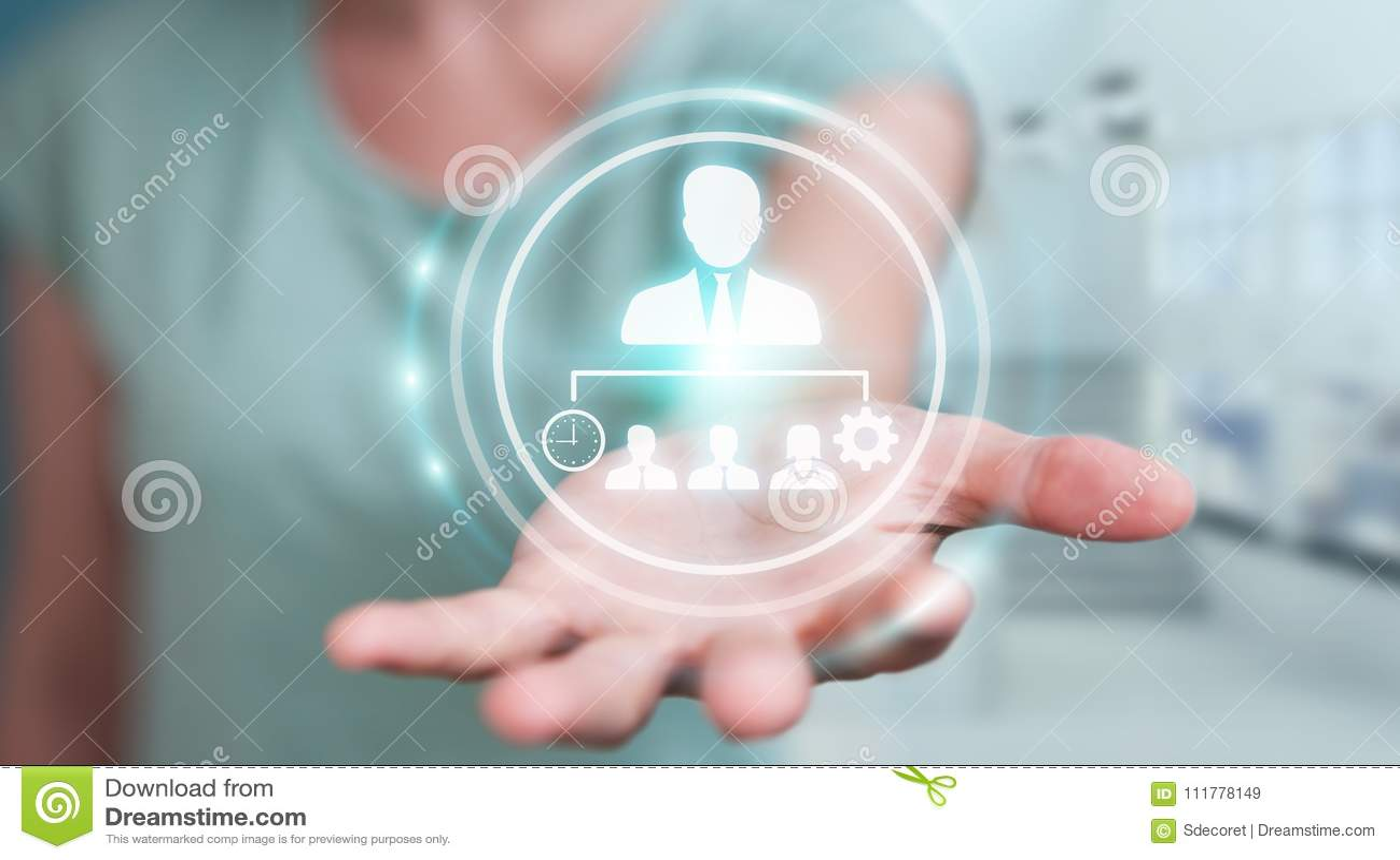 Businesswoman using business leadership chart 3D rendering