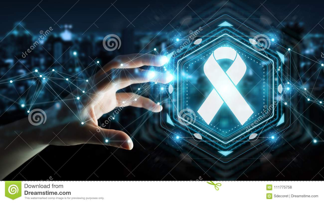 Businesswoman using digital ribbon cancer interface 3D rendering