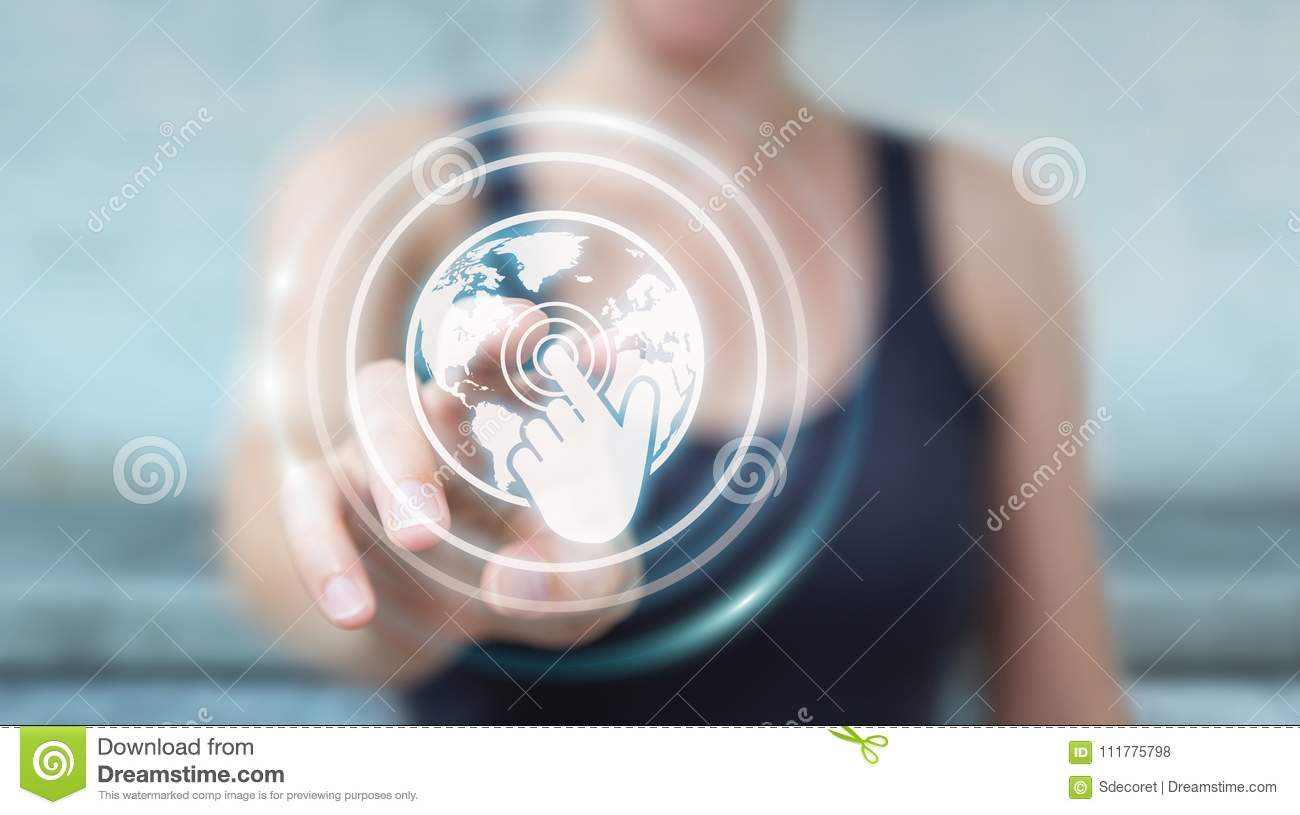 Businesswoman using digital screens interface with holograms dat