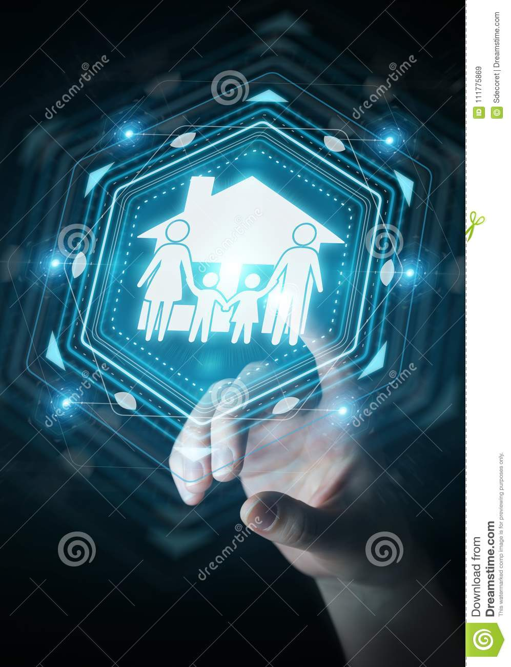 Businesswoman using family care insurance application 3D rendering