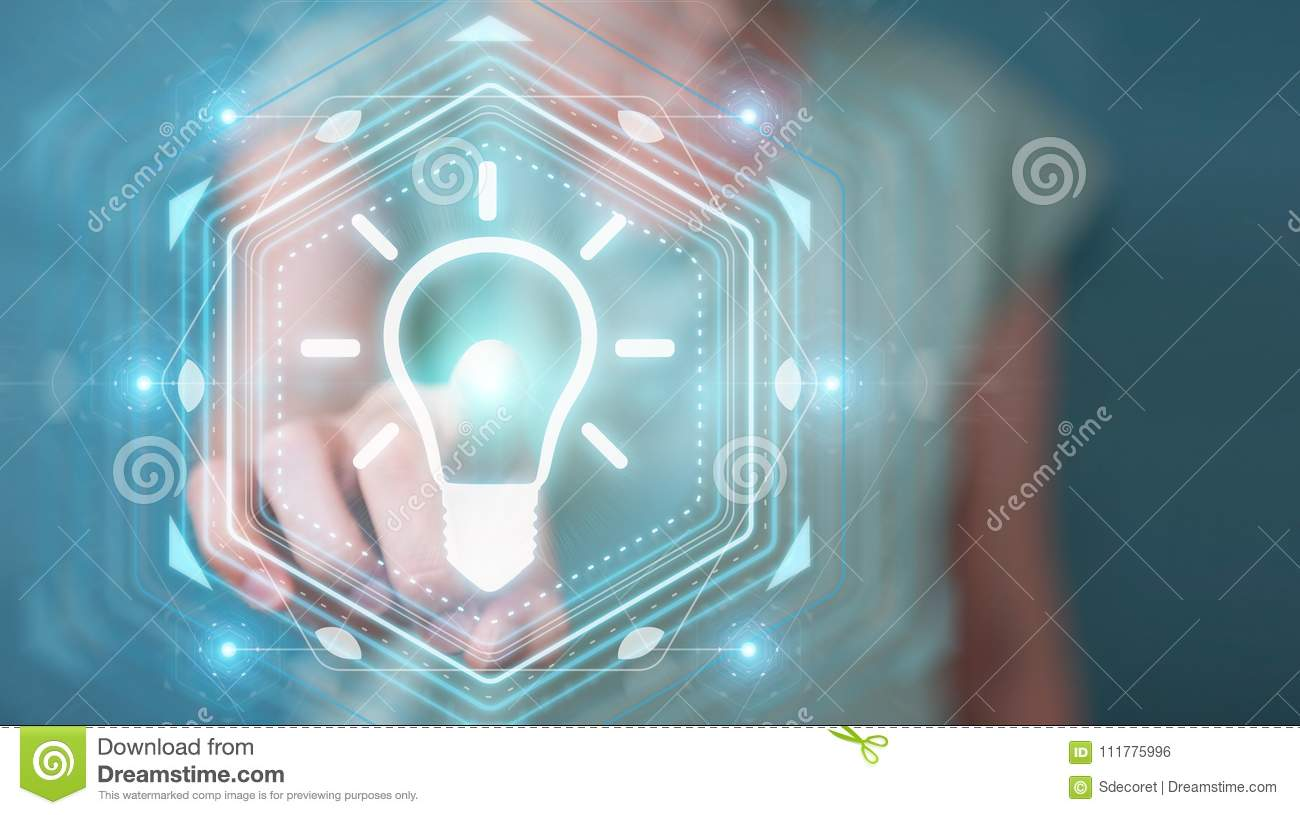 Businesswoman using lightbulb idea interface 3D rendering