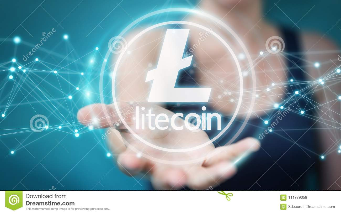 Businesswoman using litecoins cryptocurrency 3D rendering
