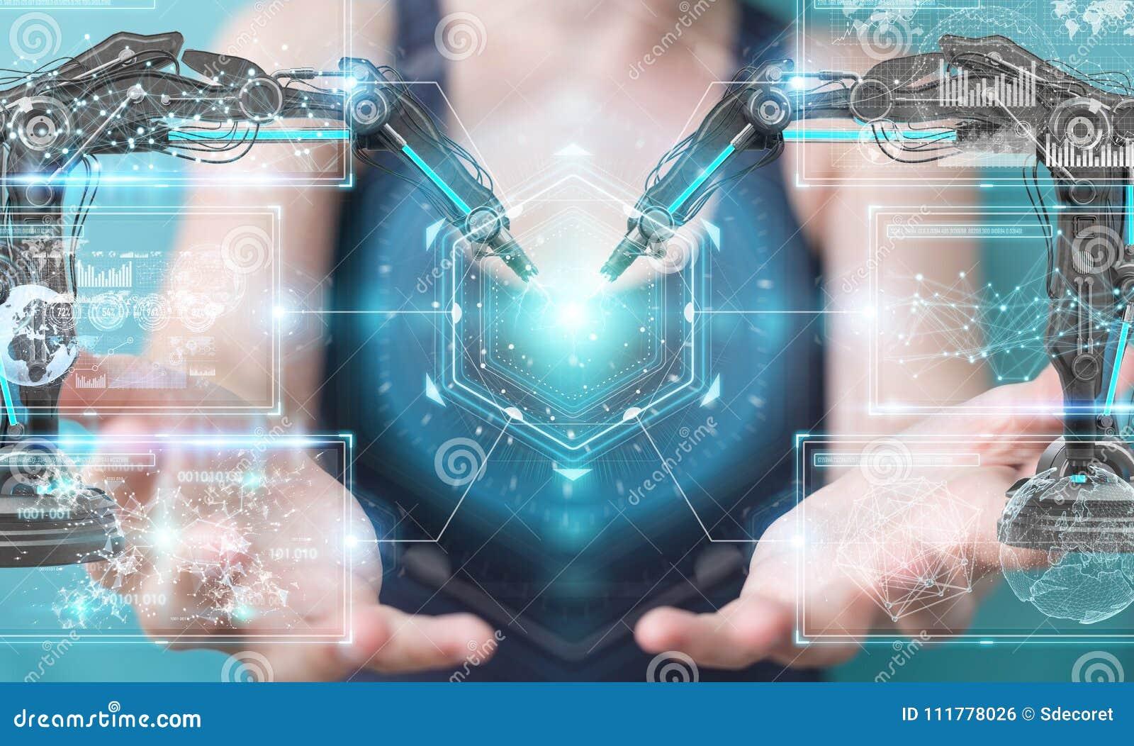 Businesswoman using robotics arms with digital screen 3D rendering