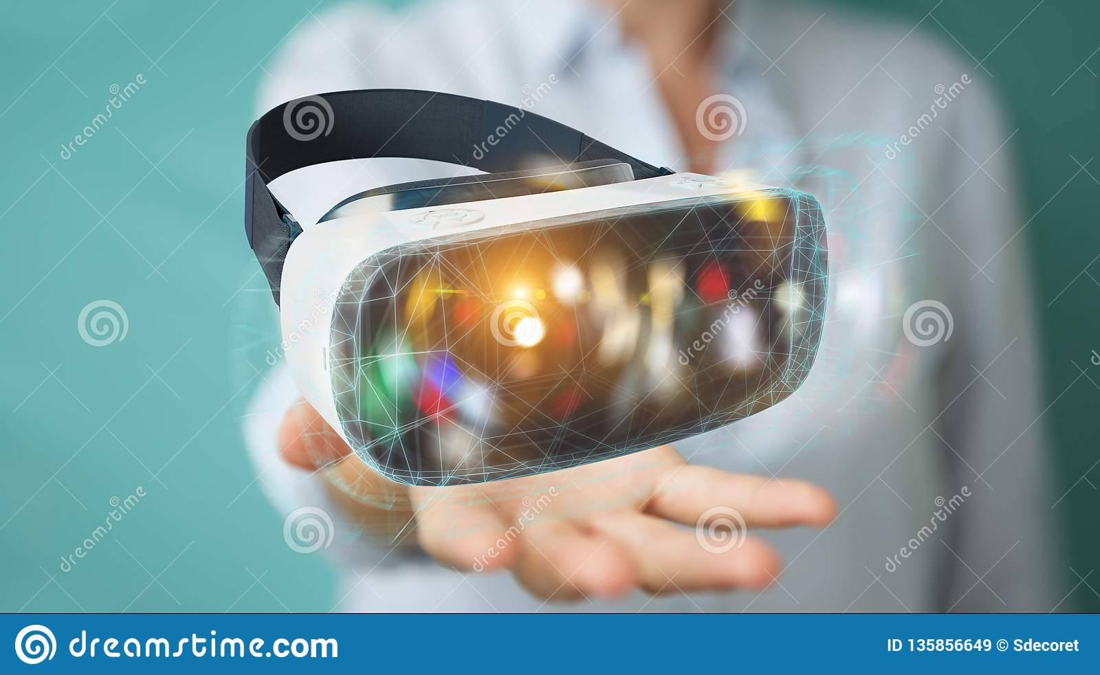 Businesswoman using virtual reality glasses technology 3D rendering