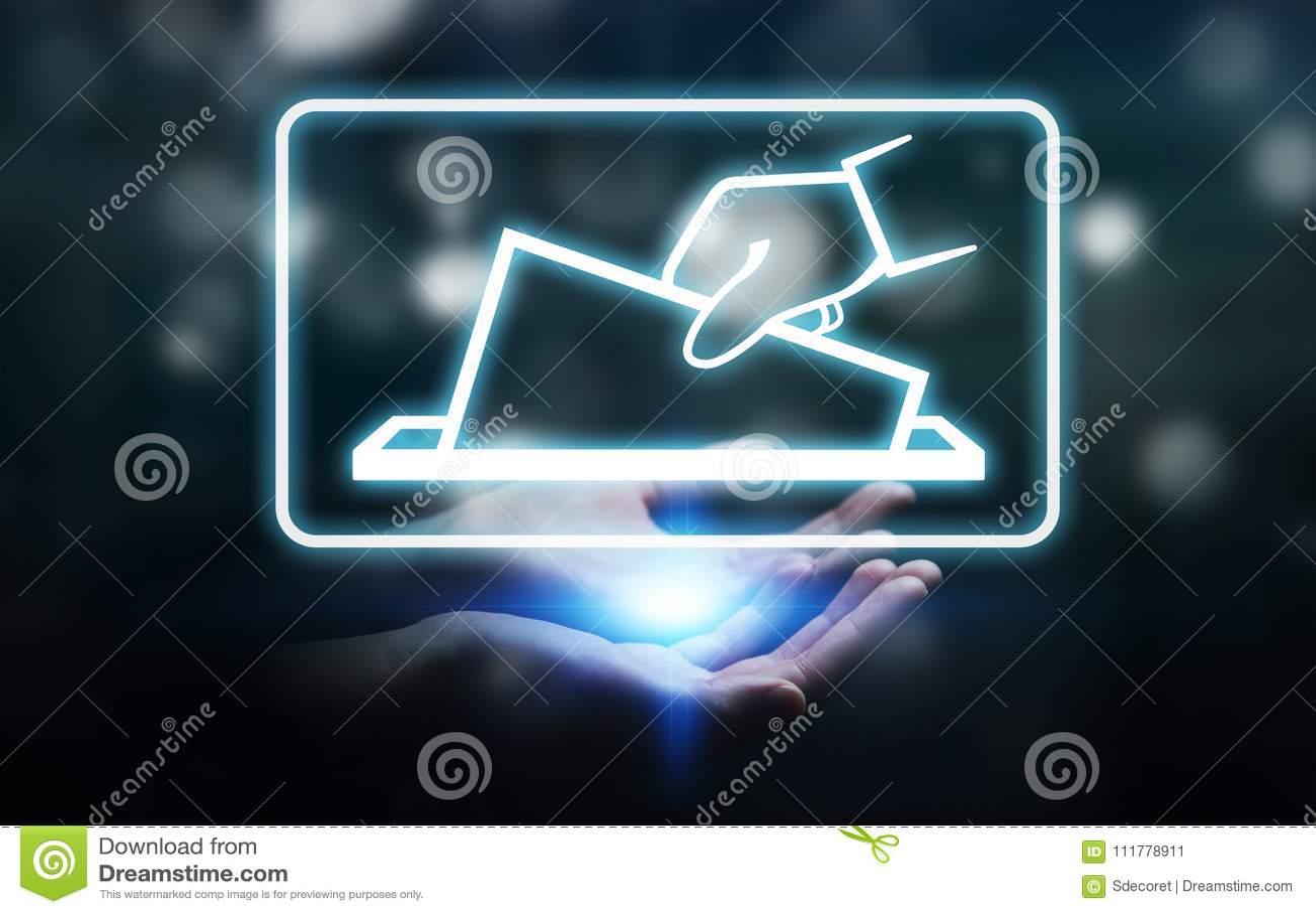 Businesswoman voting using digital interface 3D rendering