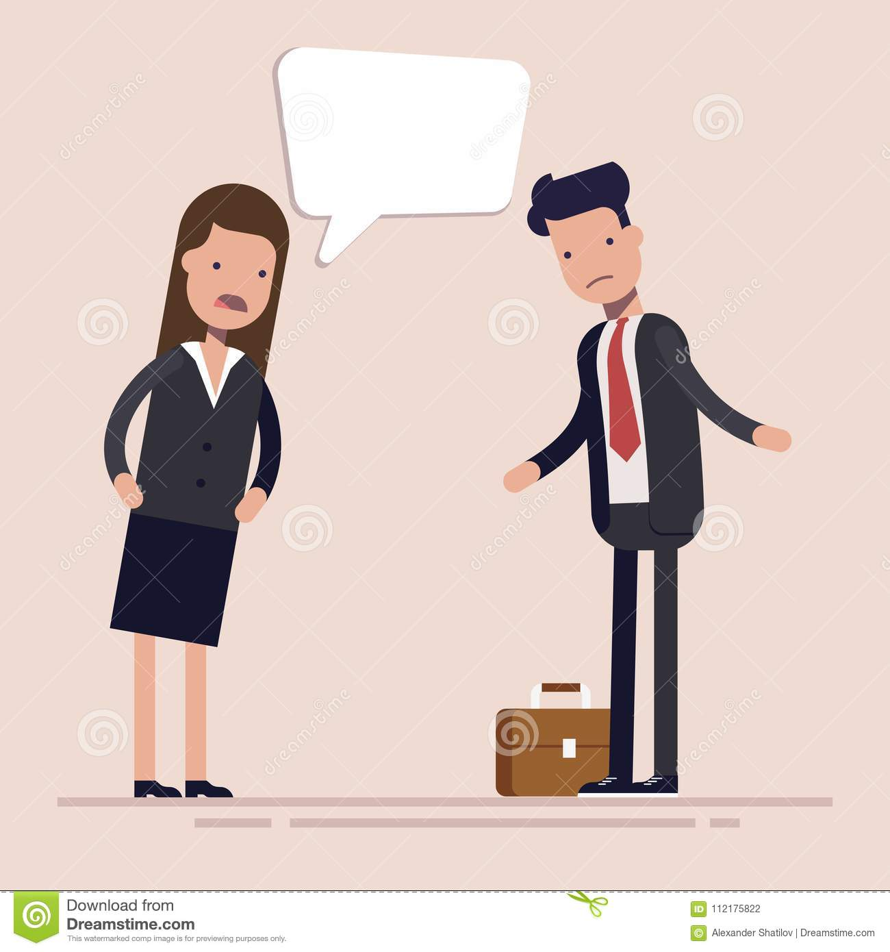 Businesswoman boss shouts at the man employee or manager. Gender discrimination in the workplace. Flat vector