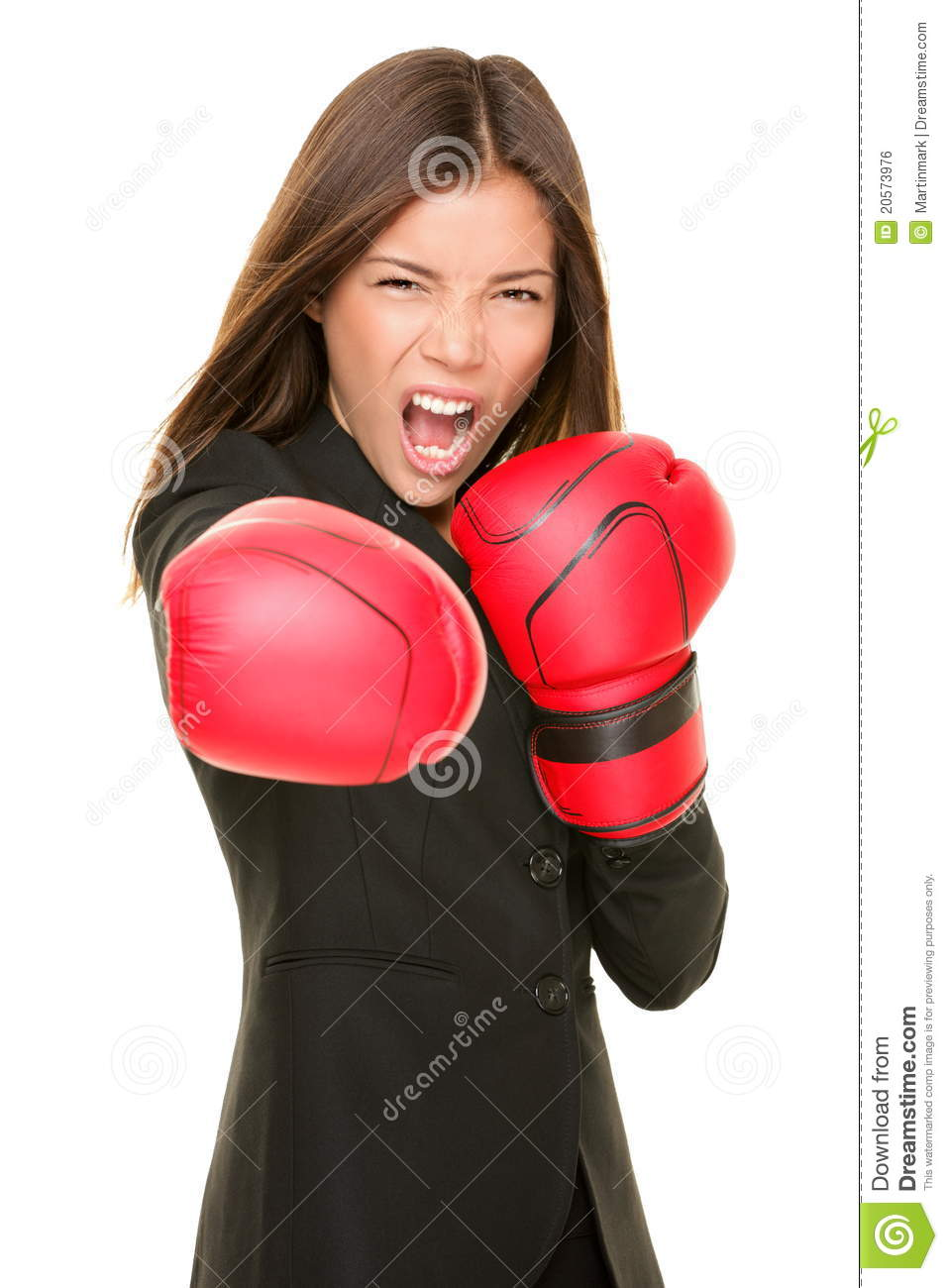 Businesswoman boxing