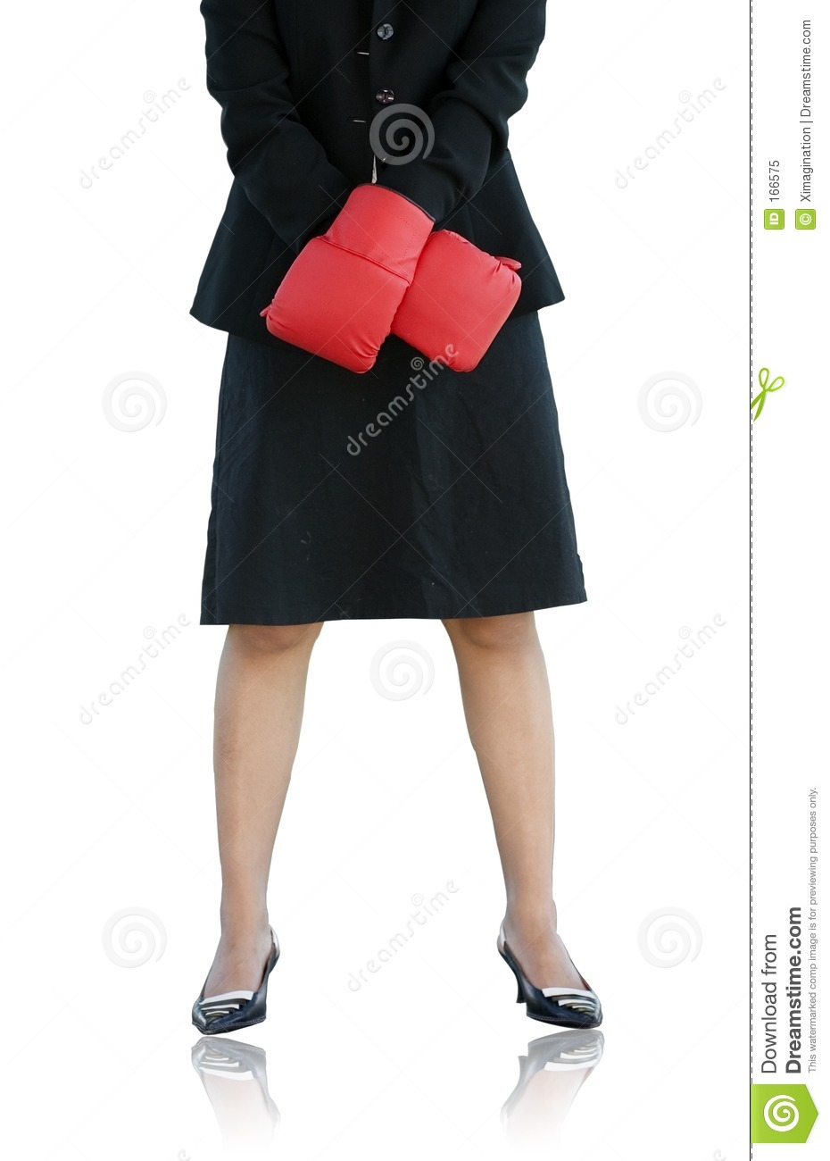 Businesswoman with boxing glove