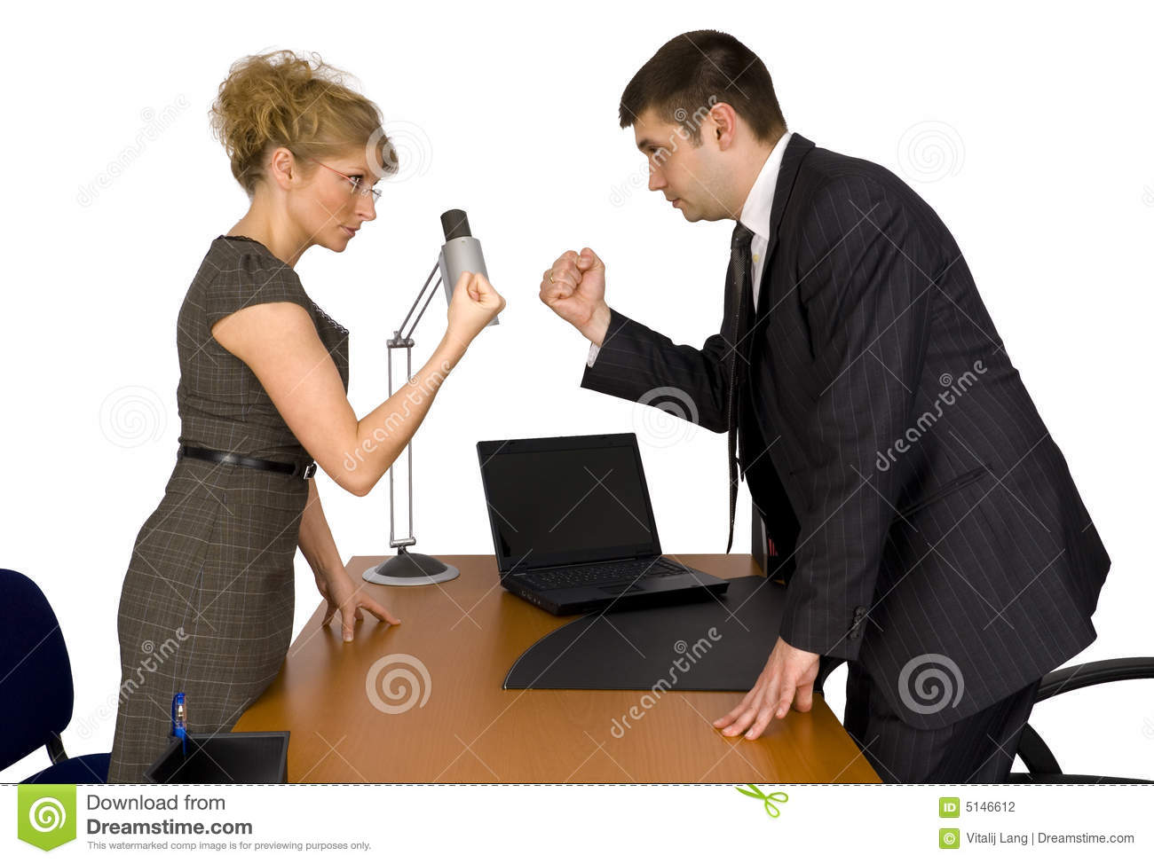 Businesswoman and businessman in office.