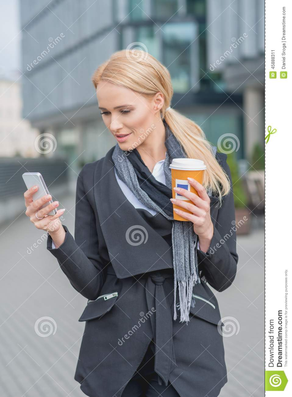 Blonde Girl With Cell Phone Stock Image - Image of sales