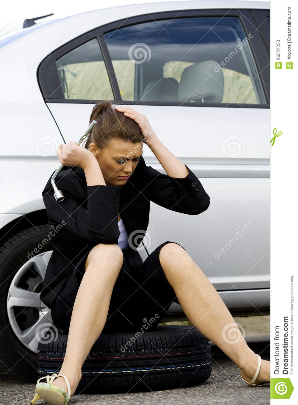 Businesswoman In A Car Failure Stock Photo - Image of broken, fixing ...