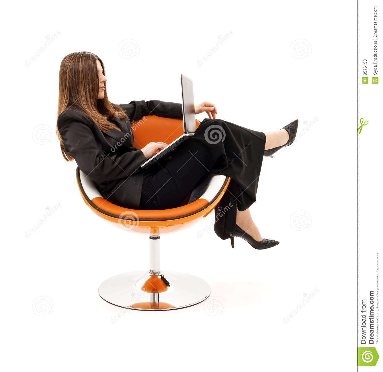Businesswoman In Chair With Laptop Stock Image - Image of ...