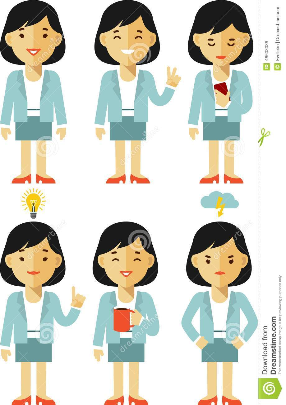 Businesswoman Character Set In Different Poses Stock Vector