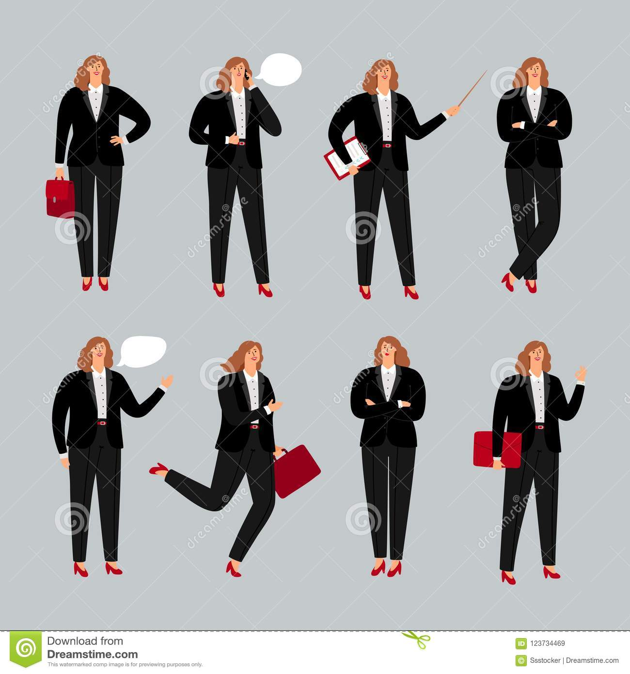 Businesswoman character. Young female professional vector illustration, business woman standing, calling by phone and