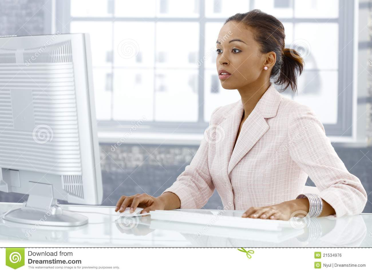Businesswoman concentrating on work