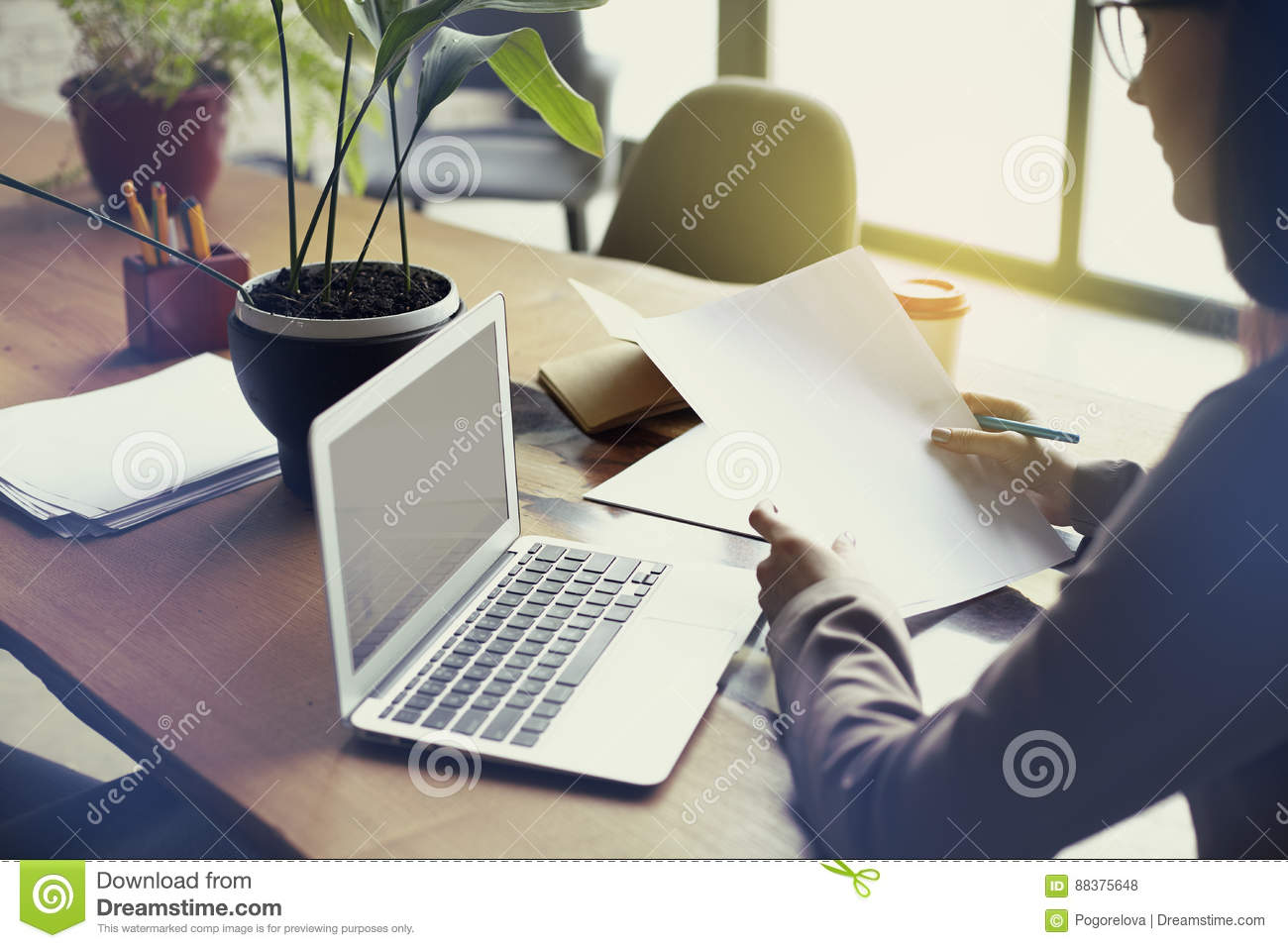 Download Businesswoman With Documents Paper Sheet In Loft Modern Office, Working On Laptop Computer. Team Working, Business People. Stock Photo - Image of digital, marketing: 88375648