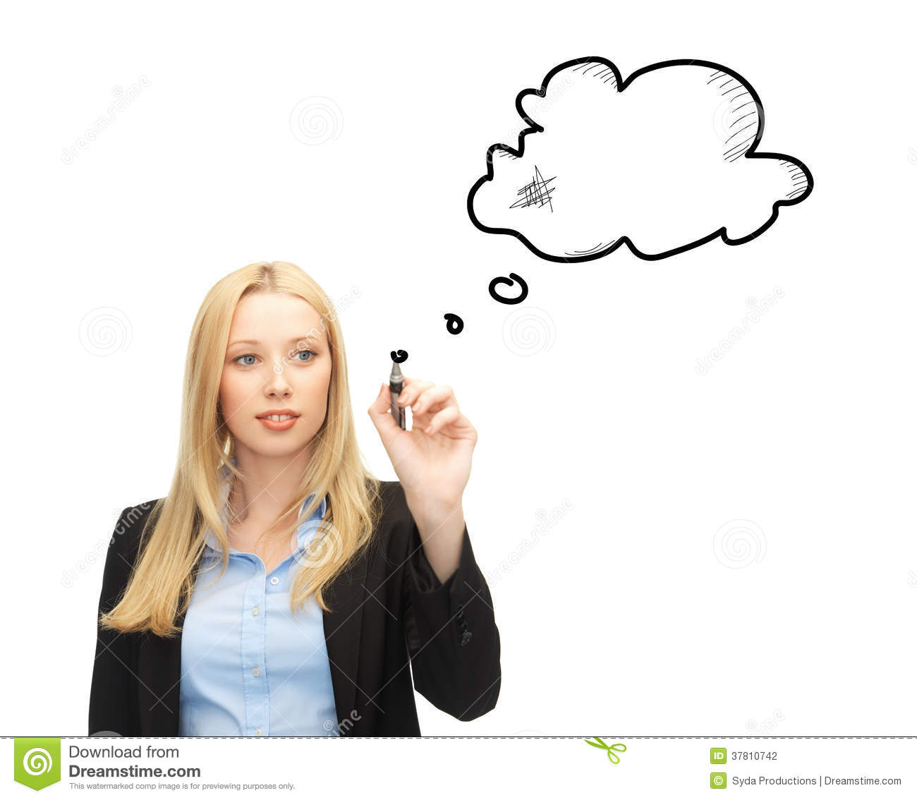 Businesswoman Drawing Blank Text Bubble Stock Photo Image