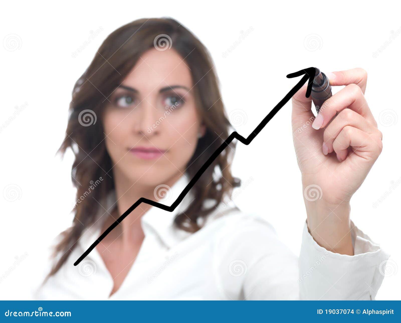 Businesswoman drawing statistics