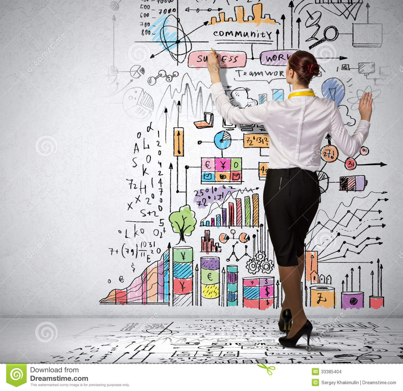 Businesswoman Drawing On Wall Stock Images Image 33385404