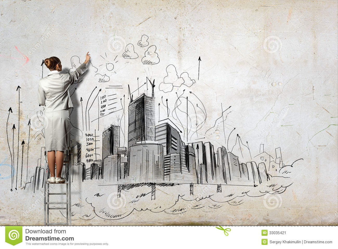 Businesswoman drawing on wall stock image image of for Drawing mural on wall