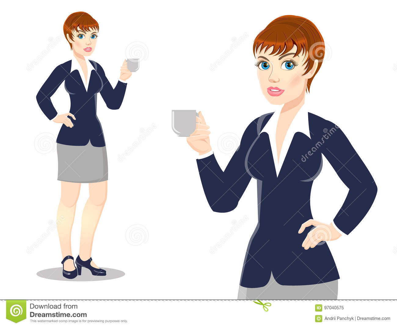 Businesswoman drinks tea, coffee