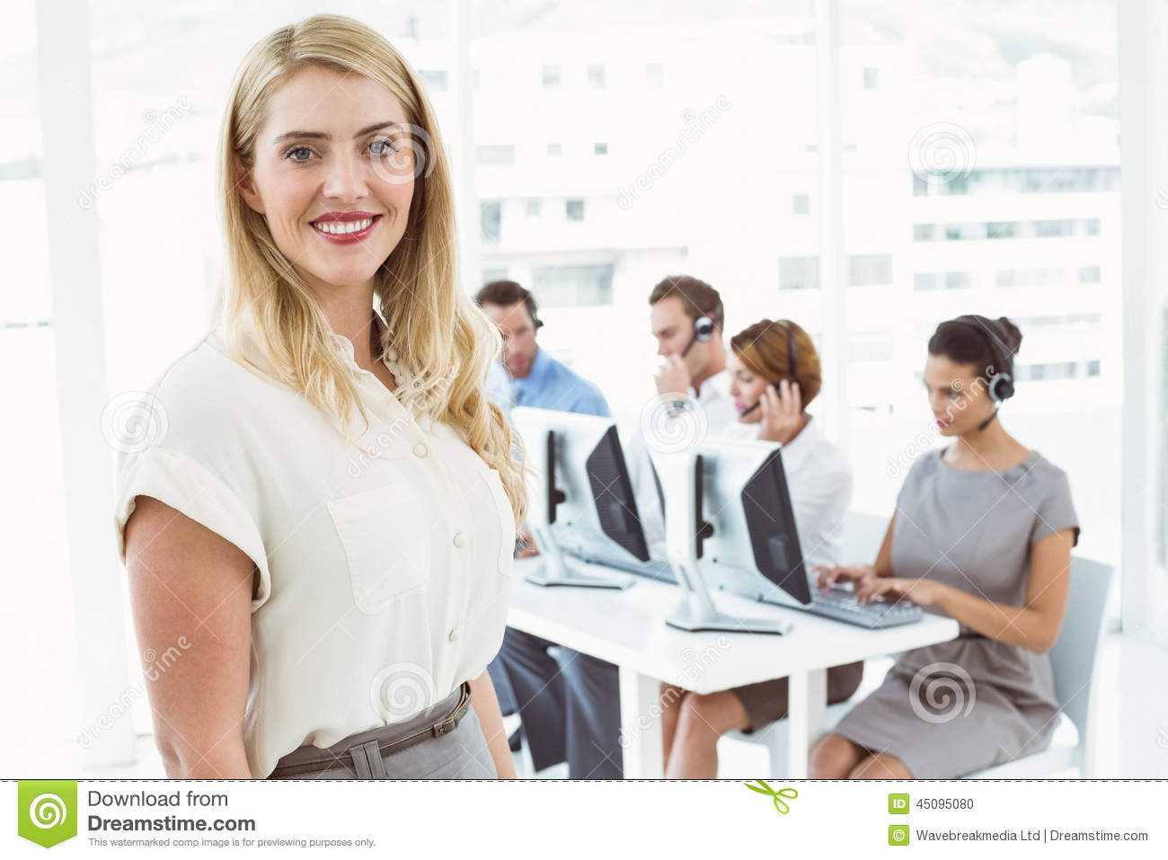 Businesswoman with executives using computers