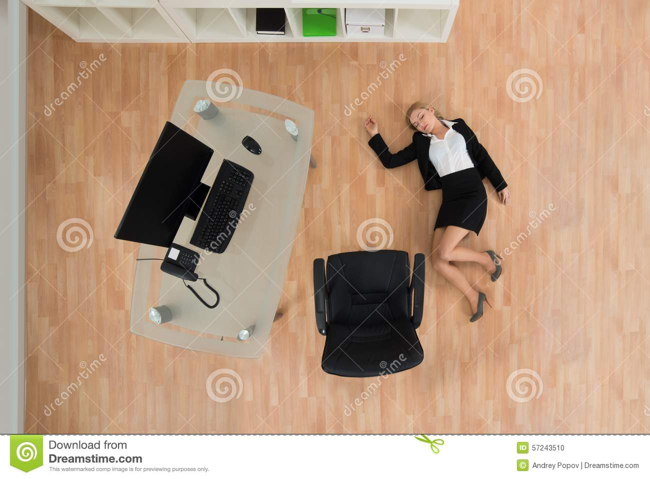 Businesswoman Fainted In Office Stock Photo Image 57243510