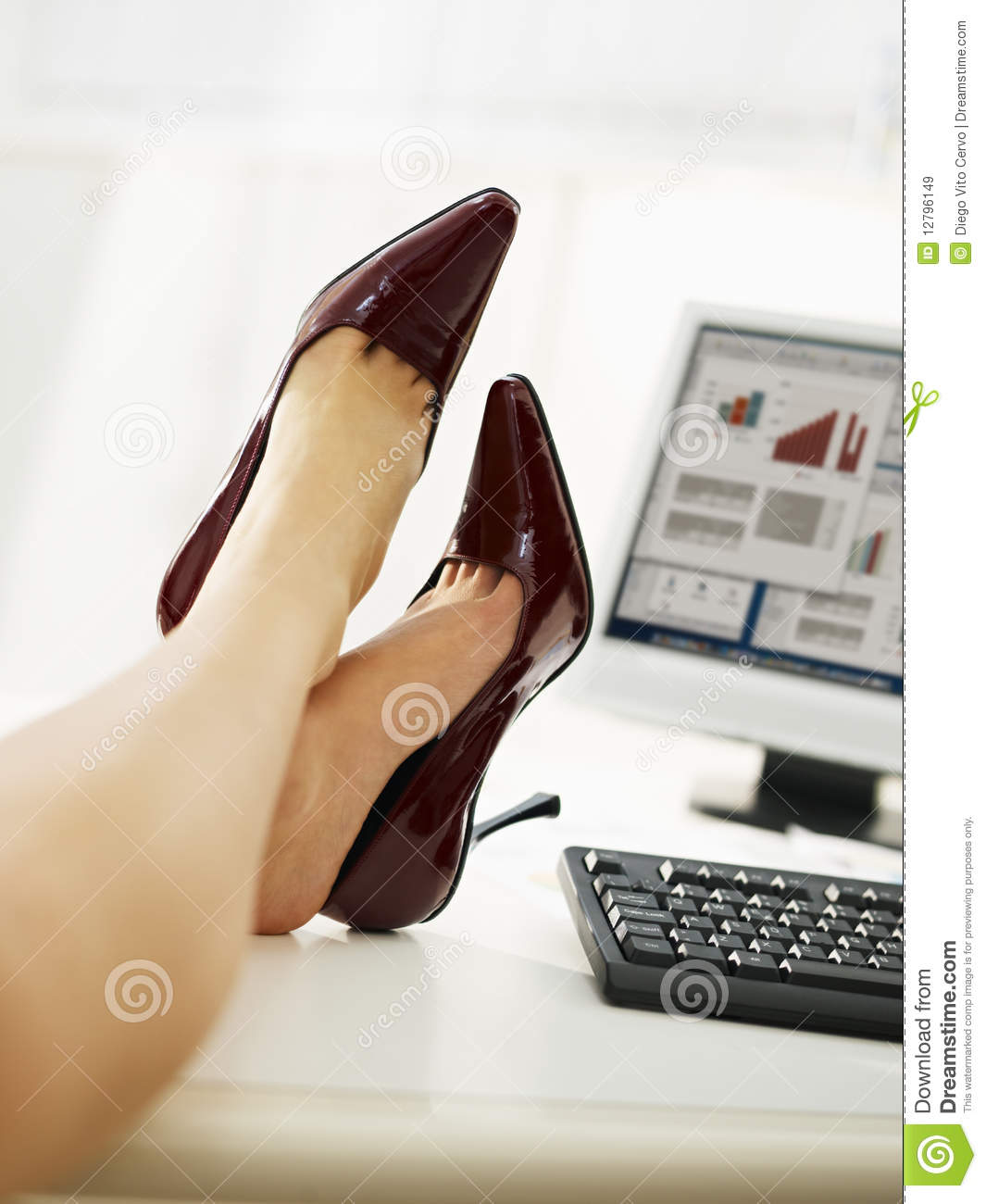 Business Girl Take Off Shoes