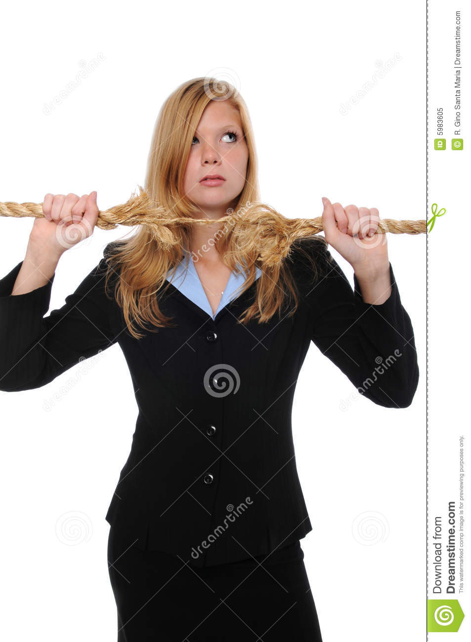 Businesswoman with frayed rope