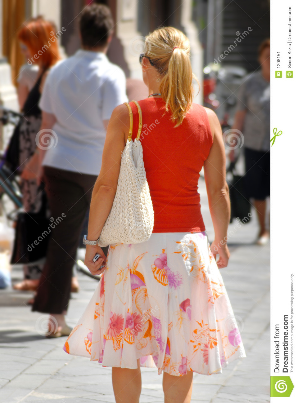 Businesswoman girl walking down the street slovenia europe