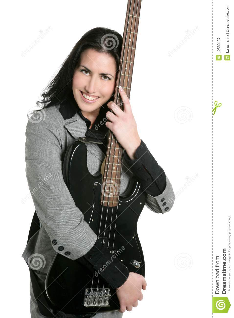 Businesswoman Guitar Player Suit And Rock Royalty Free ...