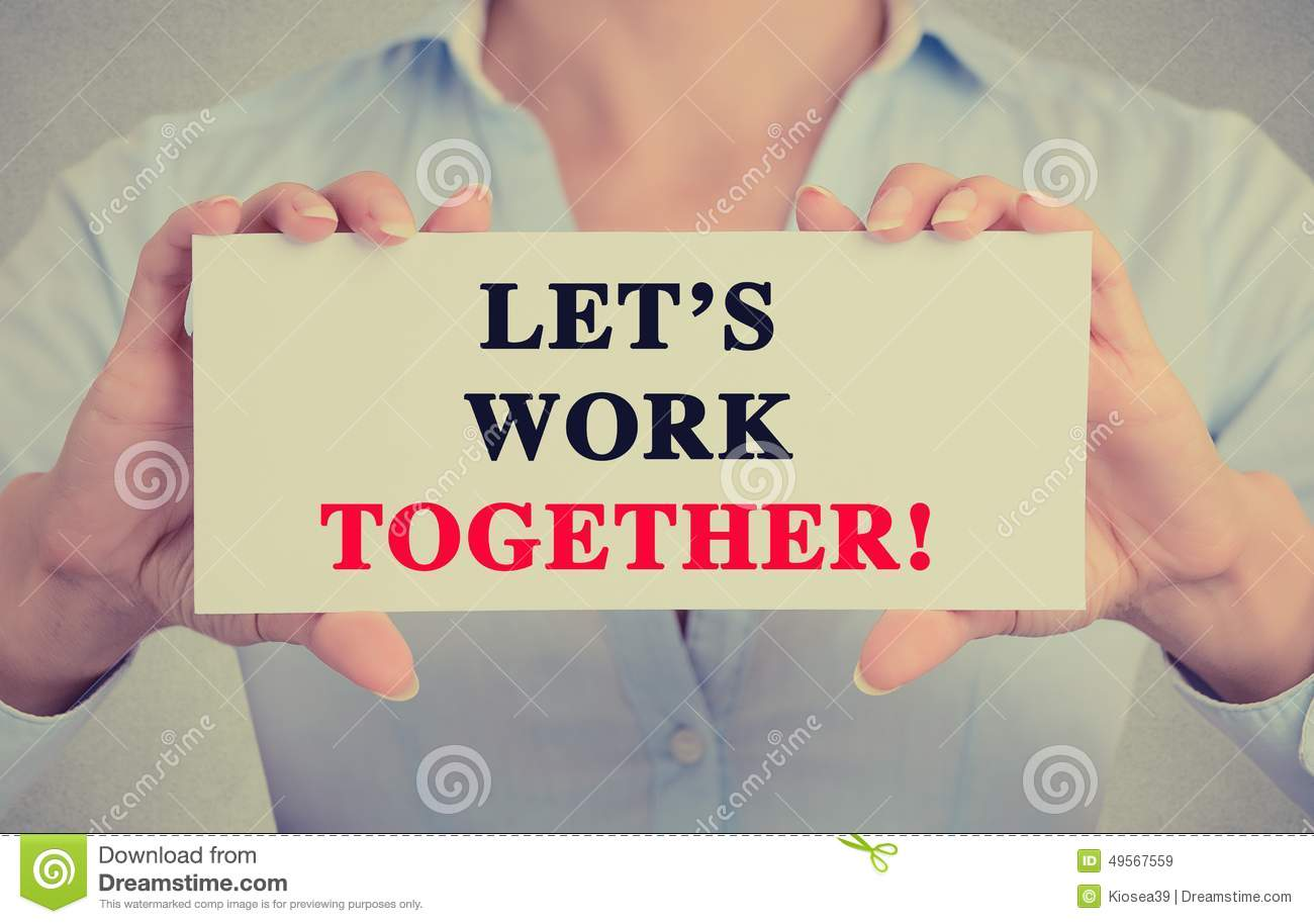 businesswoman hands holding card sign with let 39 s work together stock image image of letter. Black Bedroom Furniture Sets. Home Design Ideas