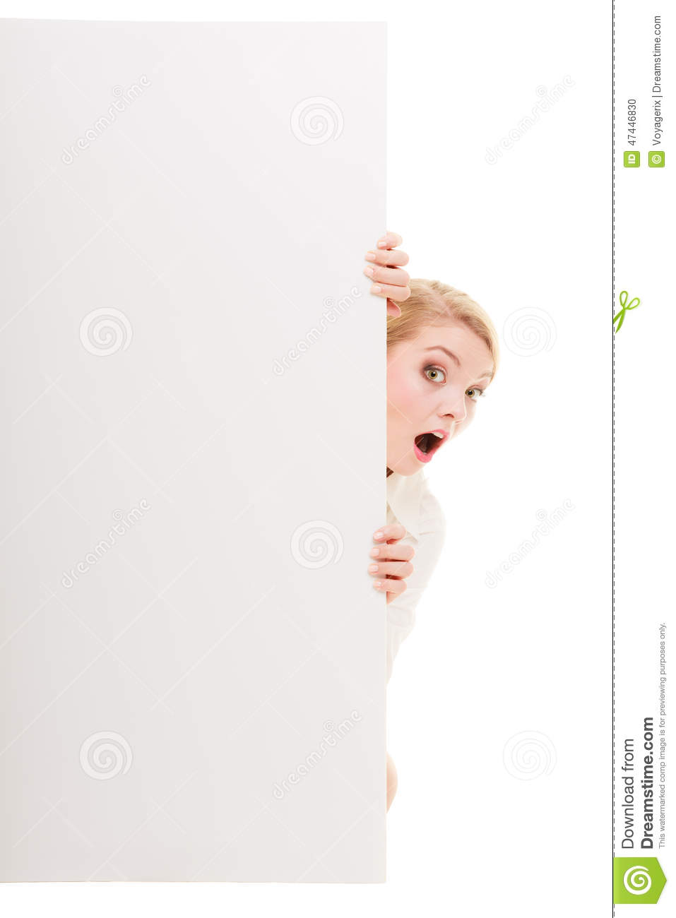 businesswoman hiding behind blank copy space banner stock photo