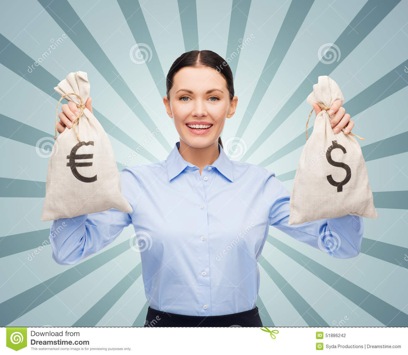 Businesswoman Holding Bags With Dollar And Euro Stock ...