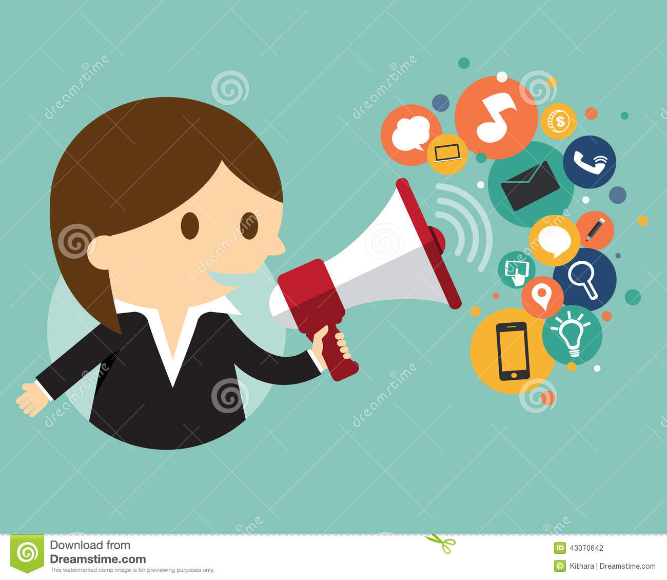 Businesswoman holding a megaphone with cloud of ic