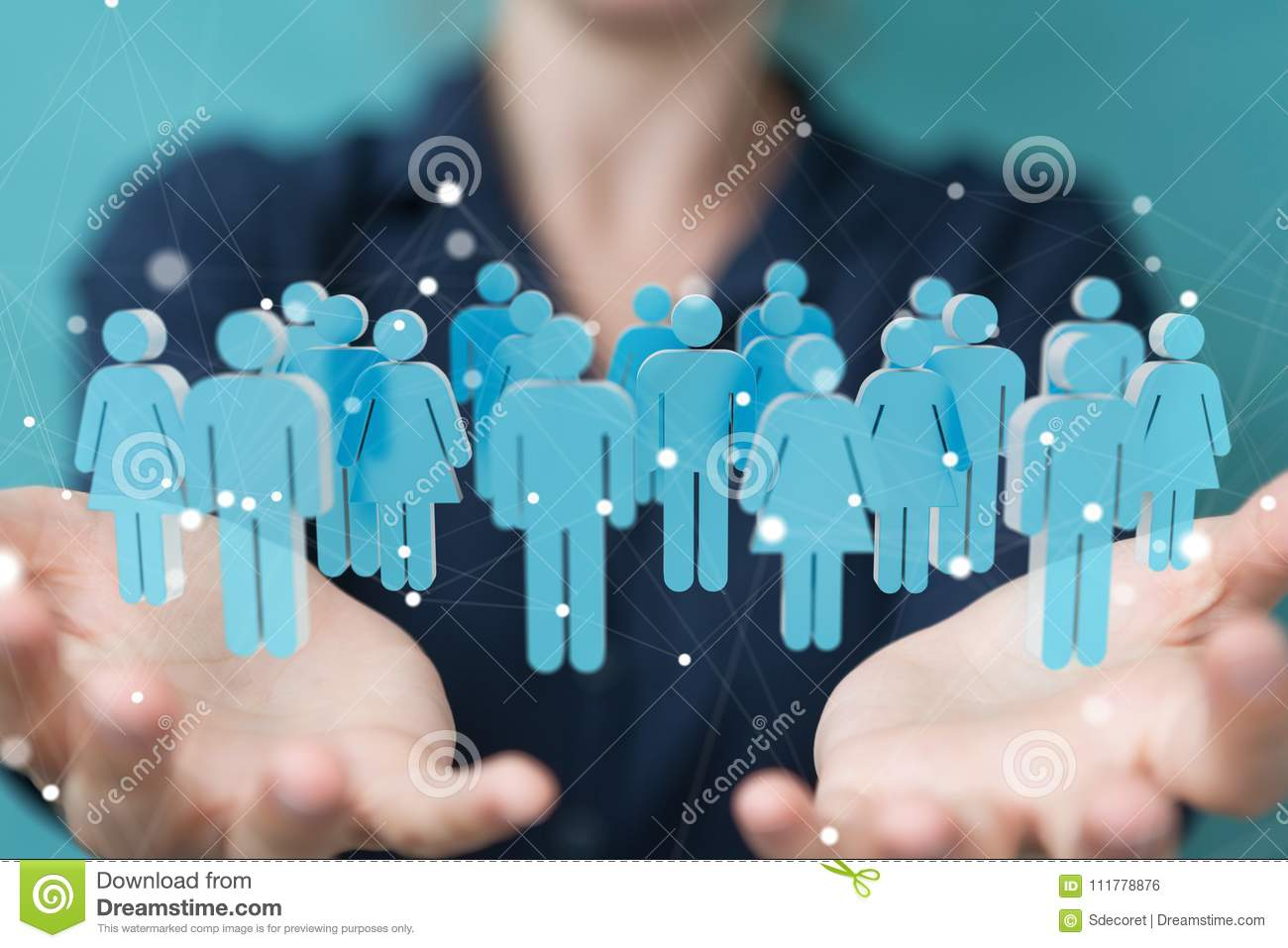 Businesswoman holding and touching 3D rendering group of blue pe