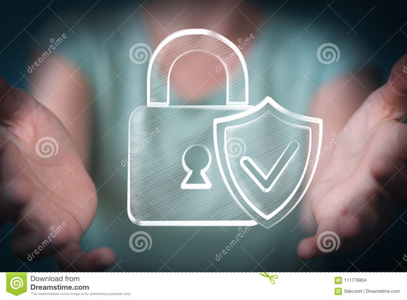 Businesswoman holding and touching a hand-drawn antivirus system