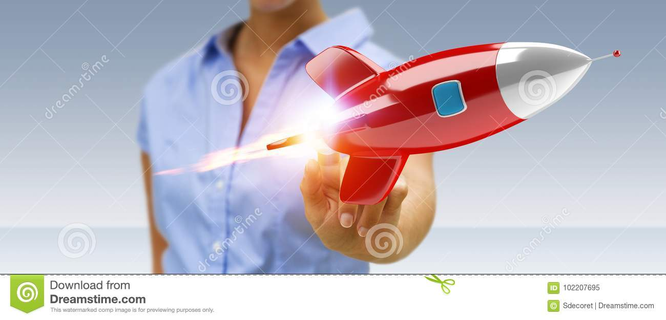 Businesswoman holding and touching a rocket 3D rendering