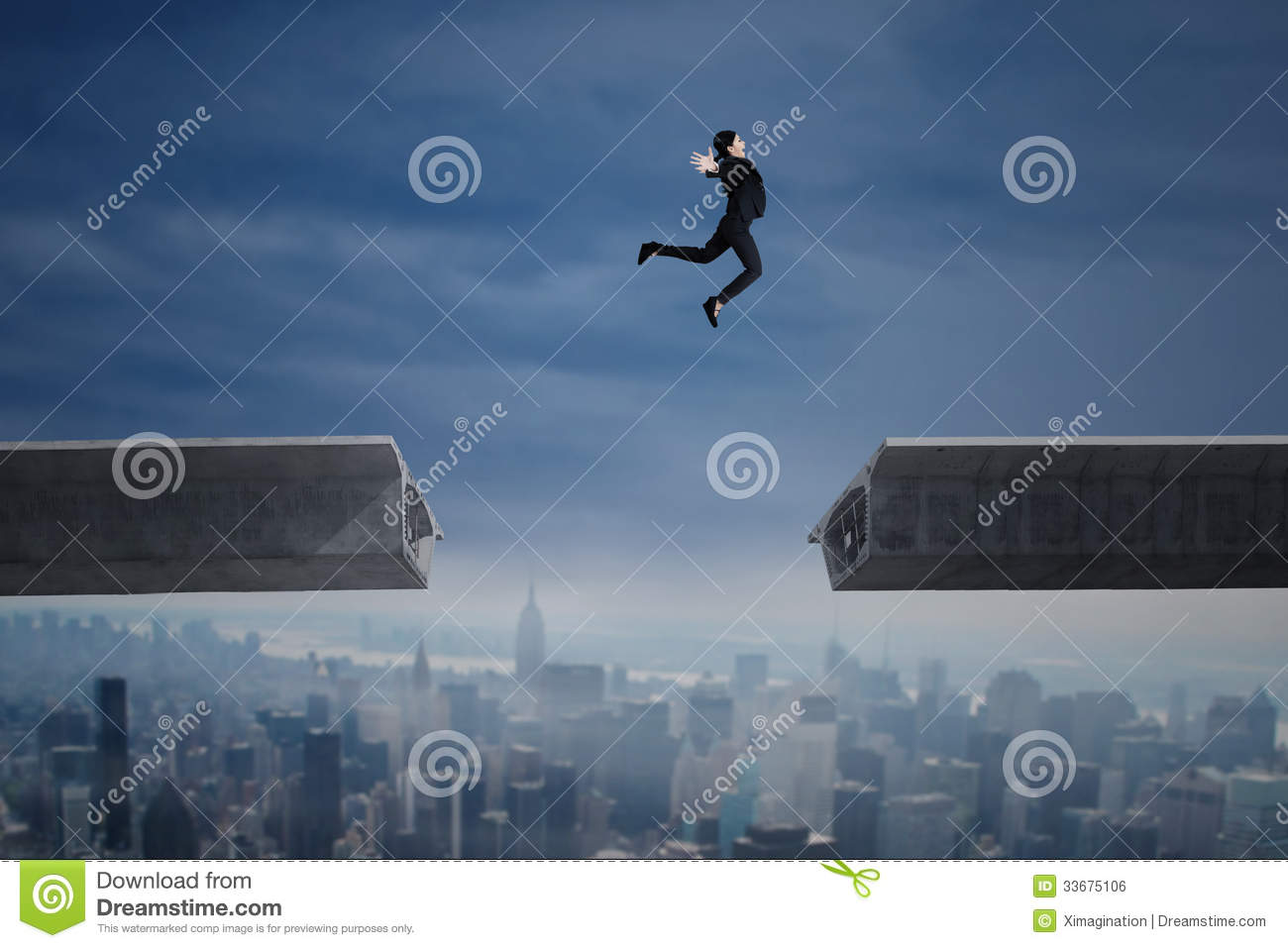 Businesswoman jumping over a gap in the bridge royalty for Jump the gap